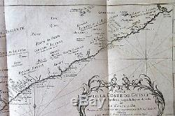 C1747 Antique MAP Chart West AFRICA shows SLAVE areas TRIBES kingdoms Gold Coast