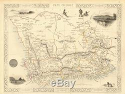 CAPE COLONY. Cape Town view. South Africa Western Cape. RAPKIN/TALLIS 1851 map
