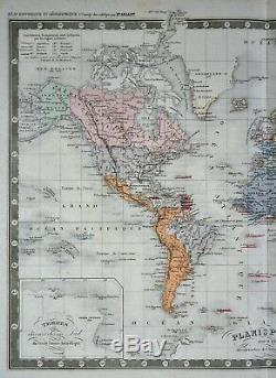 C 1860 Ansart Map World Discoveries European Colonies America Africa Asia
