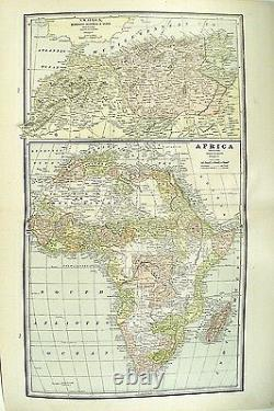 C 1890 Map of the Africa by George F Cram Map Full Color Lithograph Engraving