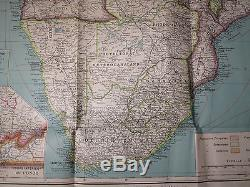 C. 1937 Huge Map Of Africa French Colonial Outline Color 43 X 47 Insets Fine