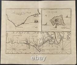Churchill Map of Parts of Africa, Plan of Gamboa. 174, 1744 Travels Engraving