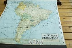 Crams 1938 Edition Vintage Pulldown Map Of South America