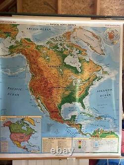 Crams North America pull-down Wall Map NEW FREE S&H