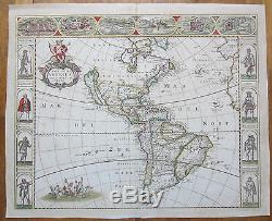 DE WIT Africa America Asia Europe 4 Maps Continents with Border 1660