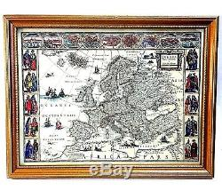 EVROPA Africa Pars Map HAMMOND Original Print Reproduction Framed 17.5 x 13.5