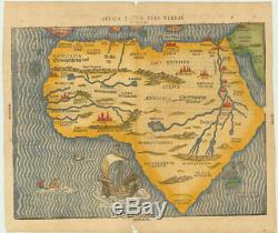Excellent woodcut map of Africa with Mountains of the Moon and mythical cities