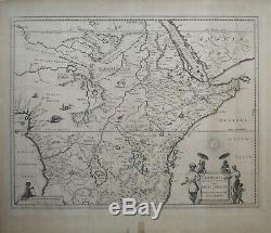 Extremely rare c1700 map of Ethiopia and Abyssinia by Blaeu Mortier