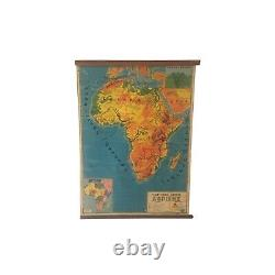 Geography map of Africa, Vintage Africa pull down chart, Geophysical School Map