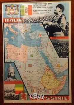 HAILE SELASSIE ITALY ABYSSINIA PRE-WORLD WAR II POLITICAL POSTER MAP c. 1935