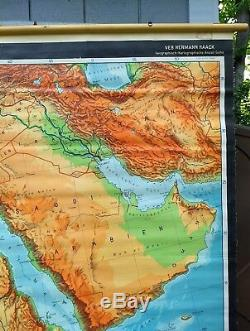 HUGE Vintage roll down map North Africa school wall chart Nigeria Egypt Haack