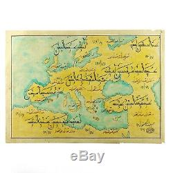 Handmade Drawing of Old Antique World Map Including Europe, Africa, Asia, Turkey