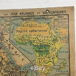 Industrial Vintage Hatier Hanging School Wall French Africa Map Vidal Lablache
