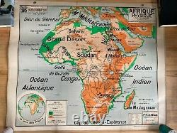 Large Vintage Double-sided French School Map of Africa by P Vidal-Lablanche