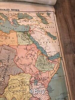 Linen Backed Vintage North American Africa Europe Map Roll Up 1920s A. J. Nystrom