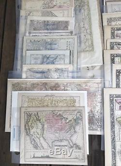 Lot of 40 Antique Maps U. S. States Europe South America Africa Mitchell & Others
