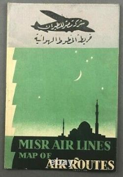 Misr Airlines Map Of Air Routes 1937-38 Airline Route Map Cyprus Egypt