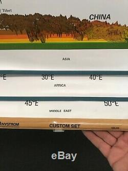 Nystrom Custom 31 PULL DOWN School MAP Asia Africa Middle East Rare 103lns