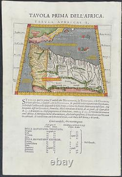 Ptolemy Map of Northwest Africa. 19, 1621 Original Hand-Colored Engraving