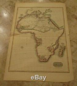 RARE 1814 PINKERTON'S MODERN ATLAS-Map of AFRICA 22 1/4 x 33 Inches-AMAZING