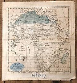 RARE Antique Map Of AFRICA With The Routes Of Travelers Parke Brown Vailiant