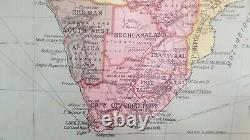 Rare 1914 VINTAGE School Pull DOWN MAP of AFRICA 55x40 W. & A. K. Johnstown