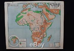 Rare French antique original map AFRICA physical mountain desert river 4739