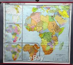 Rollable school map vintage wall chart poster print Africa