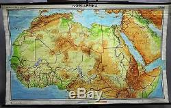 Rollable school wall chart poster, geography, map, North Africa, physical view