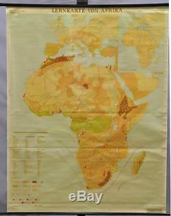 Teaching map Africa school wall chart rollable brown poster