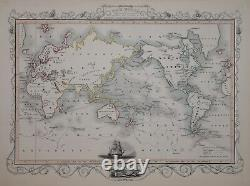 The World, Showing Captain Cook's Voyages By John Tallis Circa 1850