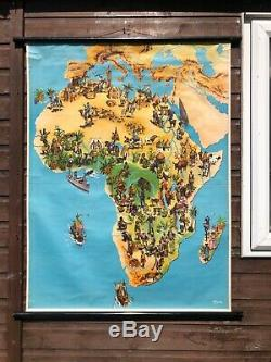 Vintage AFRICA ANTHROPOLOGY MAP school chart educational African tribes 1950