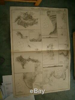 Vintage Admiralty Chart 369 PLANS IN THE CAPE VERDE ISLANDS 1917 edn