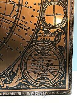 Vintage / Antique Copper Map On Wood Board Writing In Latin Europe, Asia, Africa