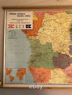 Vintage CENTRAL AFRICA school map geographical educational wall map on paper