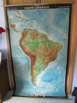 Vintage Haack Gotha South America Africa Map Cloth Backing 76 x 46 School Map