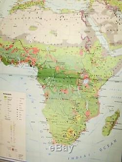 Vintage, Huge large Pull Down Chart, Africa, Economy School Chart