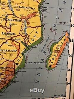 Vintage Large Rare Wall School Map Africa 1955 Nystron Atwood Regional Egypt