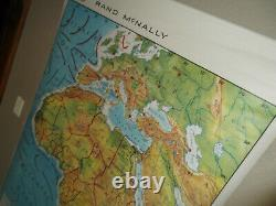 Vintage Rand McNally Large Laminated Classroom Africa Pull Down Wall Map 47x73