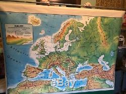 Vintage Rand McNally retractable school maps. Asia, Africa, Canada and Europe