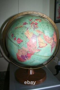 Vintage Replogle 12 Inch Stereo Relief Globe French West Africa Belgian Congo