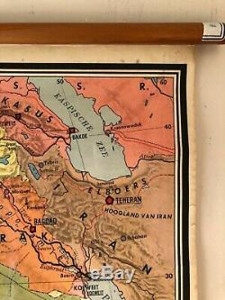 Vintage geographical map of AFRICA roll down educational map 1950s school chart