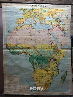 Vintage map Africa economy rollable wall chart print