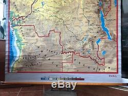 Vintage map of AFRICA the CONGO roll down school map screen printed 1950s
