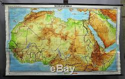 Vintage poster rollable wall chart, geography, map, North Africa, physical view