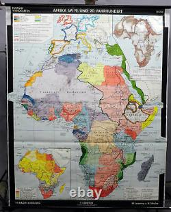 Vintage pull down map Africa 19th and 20th century African continent history