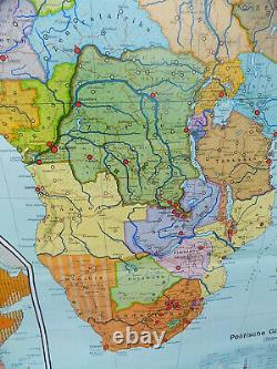 Vintage, retro, very, large, 1970's, 6' x 7', fabric, map, historical, wall chart, Africa