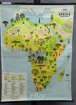 Vintage rollable wall chart poster map Africa decoration item