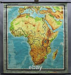 Vintage wall chart picture poster, geography, map, Africa, physical view