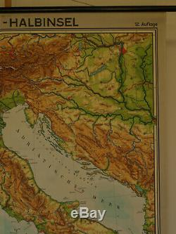 Wall Map Italy Alps Map Rome Sicily Corsica Africa 154x186cm 1965 Vintage